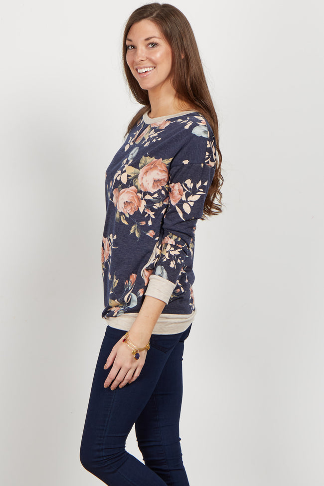 Navy Rose Long Sleeve Sweater