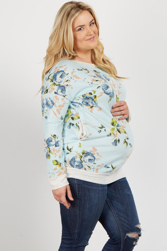 Blue Rose Long Sleeve Plus Maternity Sweater