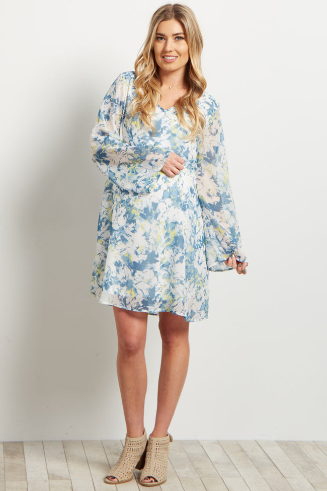 Blue Abstract V Neck Chiffon Maternity Dress