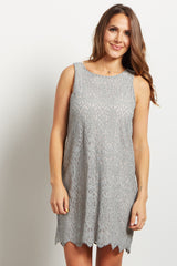 Grey Lace Overlay Sleeveless Maternity Shift Dress