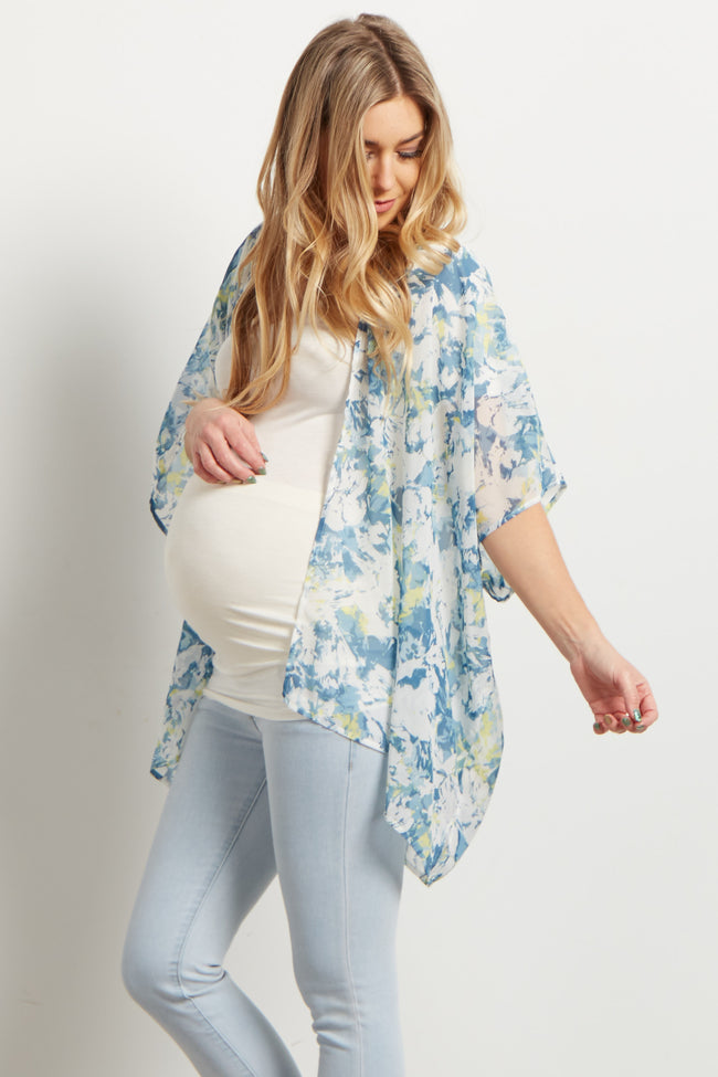 Blue Abstract Chiffon Maternity Cover Up