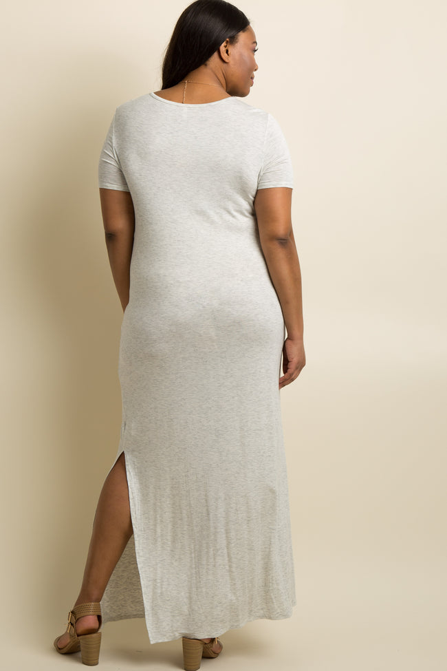 Grey Basic Side Slit Plus Maternity Maxi Dress