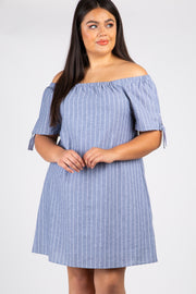 Grey Striped Off Shoulder Plus Dress