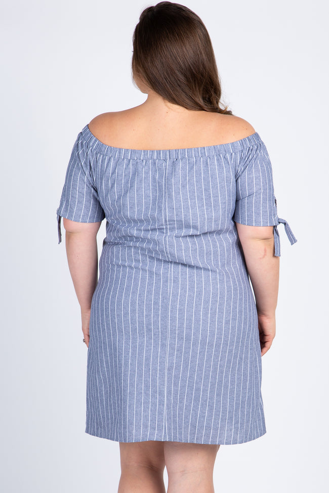 Grey Striped Off Shoulder Plus Maternity Dress
