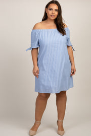 Blue Striped Off Shoulder Plus Dress