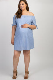 Blue Striped Off Shoulder Plus Maternity Dress