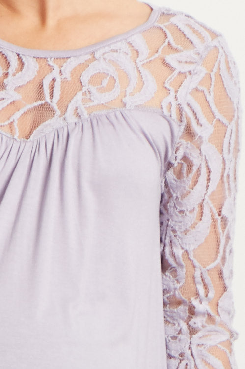 Lavender Lace Accent Maternity Top
