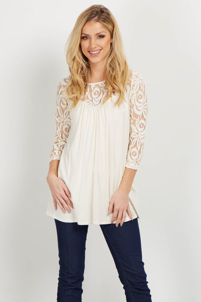 Ivory Lace Accent Maternity Top