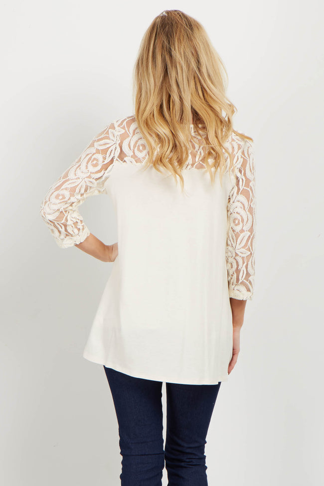 Ivory Lace Accent Top