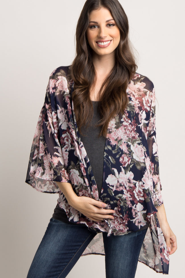 Navy Floral Chiffon Bell Sleeve Maternity Cover Up