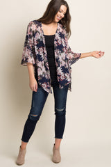 Navy Floral Chiffon Bell Sleeve Cover Up