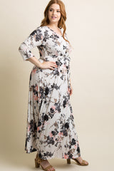 White Floral Plus Maxi Wrap Dress