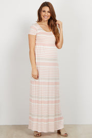 Light Pink Striped Short Sleeve Maternity Maxi Dress