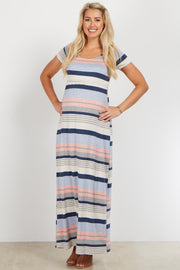 Pink Blue Striped Short Sleeve Maternity Maxi Dress