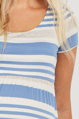 Blue Striped Short Sleeve Maternity Maxi Dress