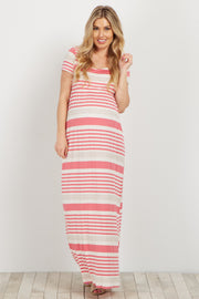 Pink Striped Short Sleeve Maternity Maxi Dress