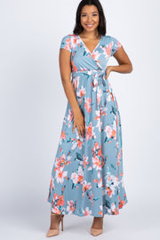 Light Blue Floral Short Sleeve Wrap Dress