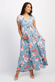 Light Blue Floral Short Sleeve Maternity/Nursing Wrap Dress