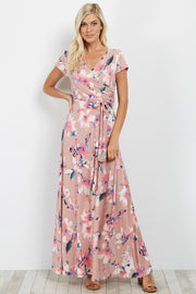 Mauve Floral Short Sleeve Wrap Dress