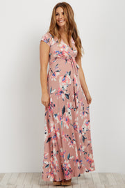 Mauve Floral Short Sleeve Maternity/Nursing Wrap Dress