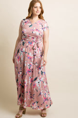 Mauve Floral Sash Tie Plus Maxi Dress