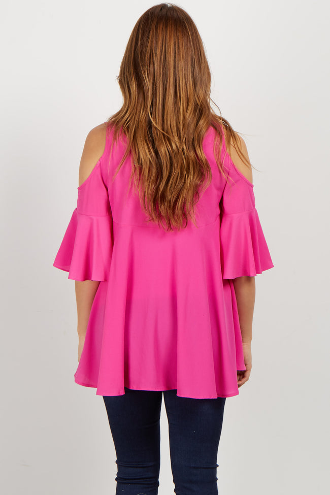Magenta Cold Shoulder Tie Neck Maternity Blouse