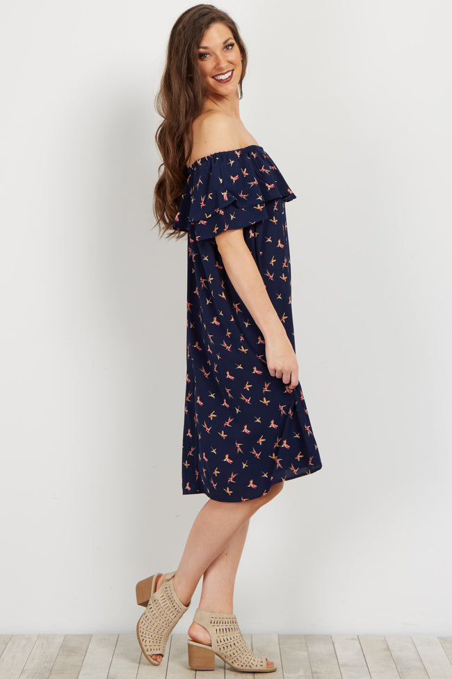 Navy Bird Print Off Shoulder Ruffle Dress