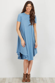 Blue Short Sleeve Swing Dress