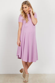 Lavender Short Sleeve Maternity Swing Dress
