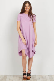 Lavender Short Sleeve Swing Dress