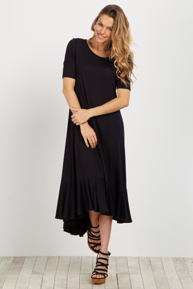 Black Hi-Low Flounce Hem Midi Dress