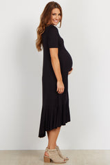 Black Hi-Low Flounce Hem Maternity Midi Dress