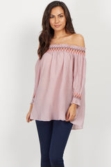 Mauve Embroidered Off Shoulder Blouse