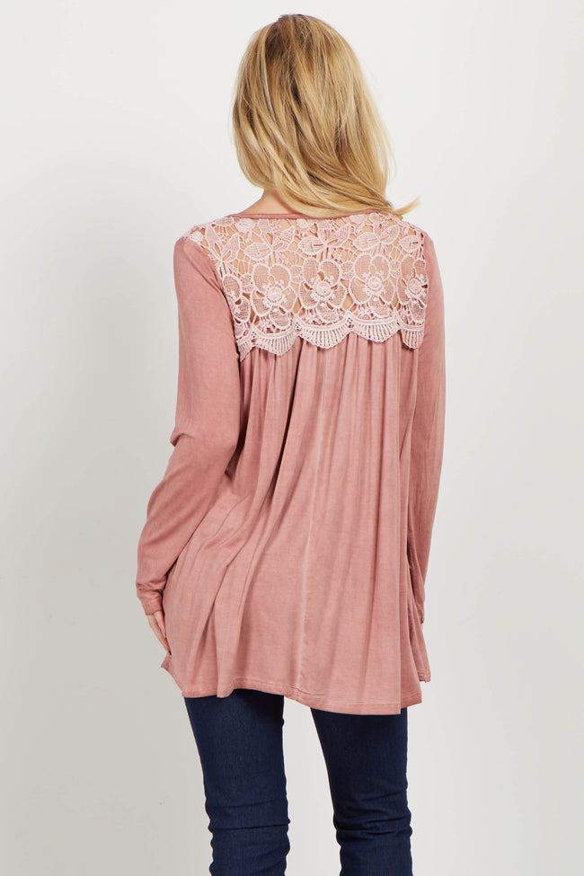 Mauve Floral Crochet Neck Top