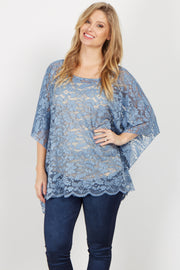 Blue Floral Lace Poncho Top
