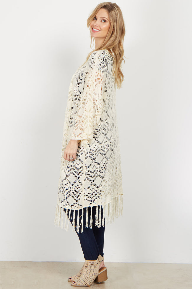 Cream Crochet Knit Long Cover Up