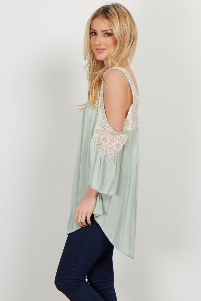 Mint Mesh Neckline Top