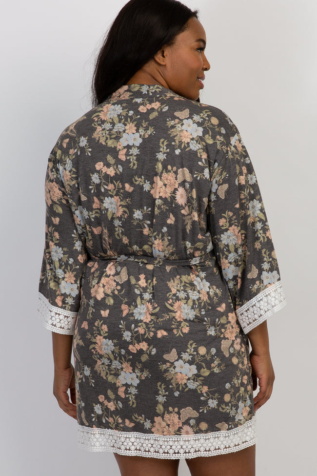 PinkBlush Charcoal Floral Crochet Trim Plus Delivery/Nursing Robe