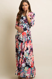 Navy Abstract Floral Maternity/Nursing Maxi Wrap Dress