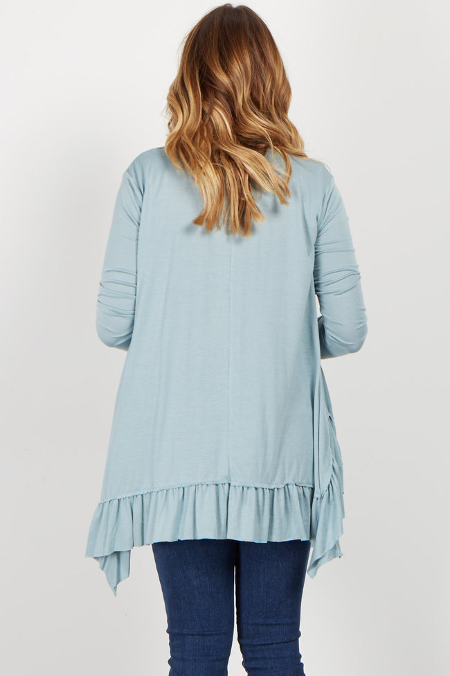 Light Blue Strappy Ruffle Trim Top