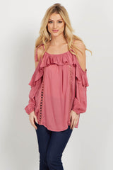 Pink Tie Cold Shoulder Crochet Maternity Blouse