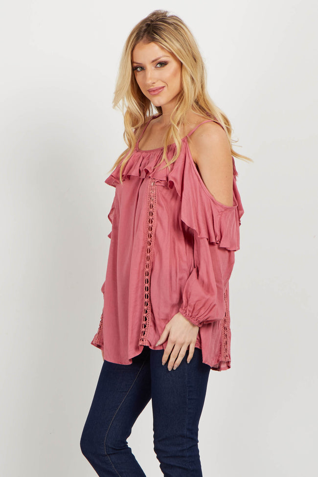 Pink Tie Cold Shoulder Crochet Blouse