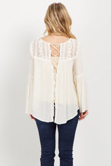 Cream Crochet Lace Up Maternity Top