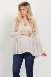 Ivory Lace Up Crochet Linen Maternity Blouse