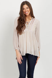 Ivory Lace Up Crochet Linen Blouse