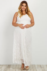 Ivory Lace V Neck Plus Maternity Evening Gown