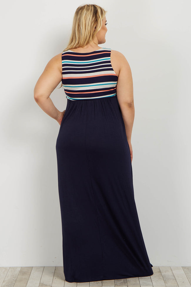 Navy Striped Colorblock Plus Maternity Maxi Dress