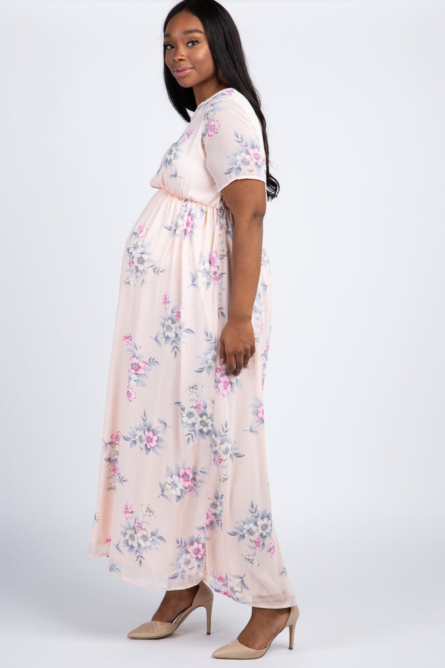 Pink Floral Chiffon Plus Maternity Maxi Dress