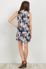 Navy Floral Mock Neck Sleeveless Dress