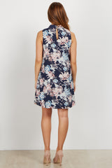 Navy Floral Mock Neck Sleeveless Maternity Dress